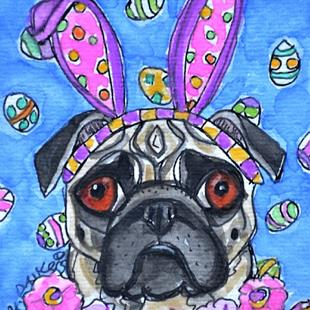 Art: Easter Pug with Flowers by Artist Melinda Dalke