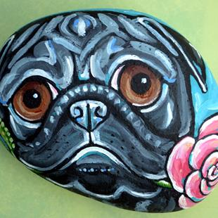 Art: pug rose 2 a by Artist Melinda Dalke
