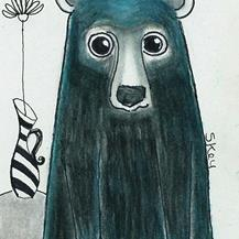 Art: Blue Black Bear-NA by Artist Sherry Key