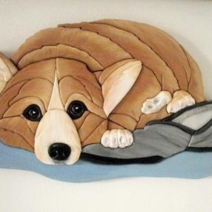 Art: Corgi Dog..Dad's Slipper Original Painted Intarsia Art by Artist Gina Stern