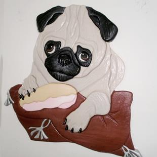 Art: Pug Dog Sitting Pretty Original Painted Intarsia Art by Artist Gina Stern