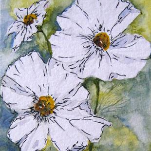 Art: White Cosmos Flowers SOLD by Artist Bonnie Pankhurst