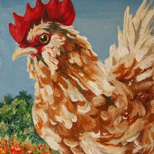 Art: Blending In - Feather Footed Rooster Among The Marigolds by Artist Kim Loberg