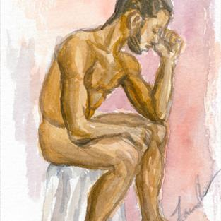 Art: Seated Man by Artist Laura Ross