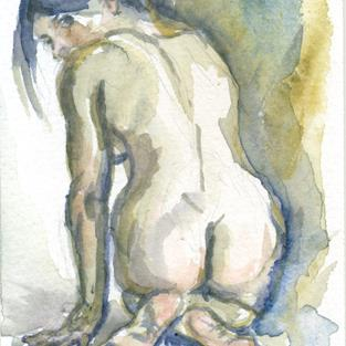 Art: Kneeling Woman by Artist Laura Ross