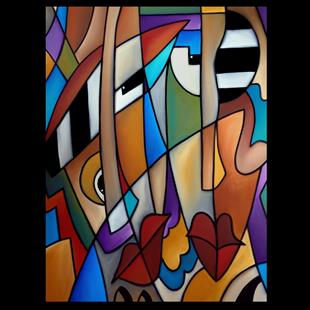 Art: Original Cubist Art Piano Men by Artist Thomas C. Fedro