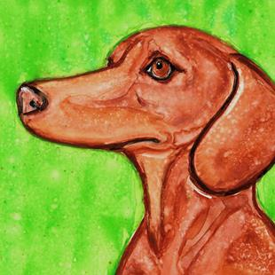 Art: Dachshund with Green Background 1 by Artist Melinda Dalke