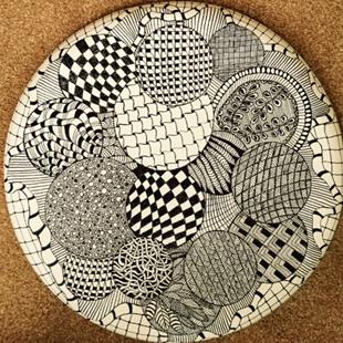 Art: Balls - Mandala - Zentangle Inspired Art by Artist Ulrike 'Ricky' Martin