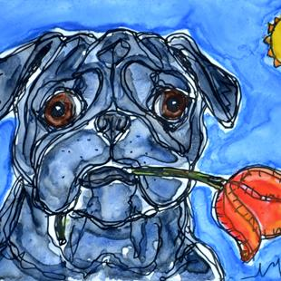 Art: Tulip and Pug by Artist Melinda Dalke
