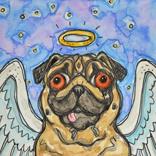 Art: Heavenly Pug 1 by Artist Melinda Dalke