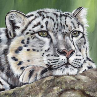 Art: Snow Leopard by Artist Janet M Graham