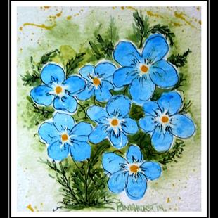 Art: Forget Me Nots Expressive Watercolor -SOLD by Artist Bonnie Pankhurst