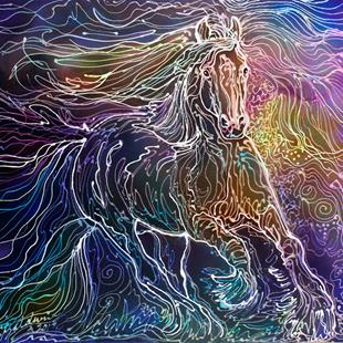 Art: GYPSY VANNER BATIK WATERCOLOR by Artist Marcia Baldwin