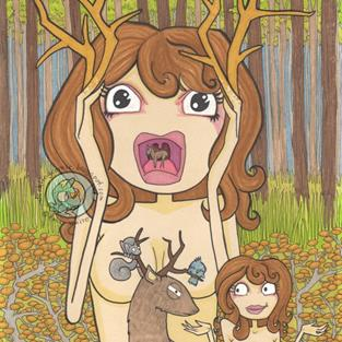 Art: Oh Deer! by Artist Emily J White