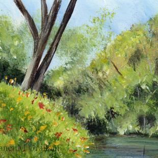 Art: River Bank ACEO by Artist Janet M Graham