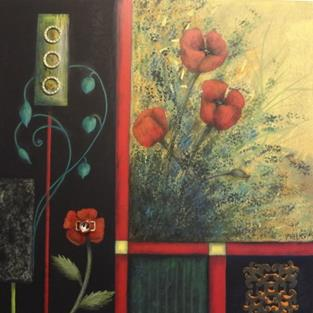 Art: (SOLD) Poppies by Artist Vicky Helms