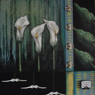 Art: (SOLD) Calla Lillies by Artist Vicky Helms