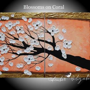 Art: Blossoms on Coral (sold) by Artist Amber Elizabeth Lamoreaux