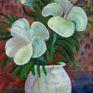 Art: White Hibiscus SOLD by Artist Ke Robinson