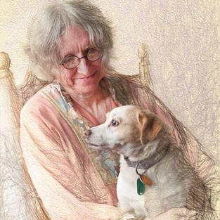 Art: The Artist and her Dog by Artist Carolyn Schiffhouer