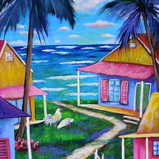 Art: Path 2 the Beach Key West Cottages 1307 by Artist Ke Robinson