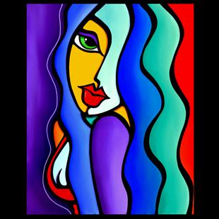 Art: Original Abstract Pop Art Mrs Brightside by Artist Thomas C. Fedro