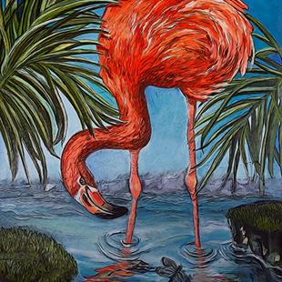 Art: Flamingo Beach: Digital version by Artist Alma Lee