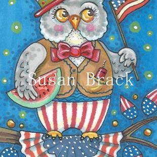 Art: WHOOO LOVES THE RED WHITE AND BLUE by Artist Susan Brack