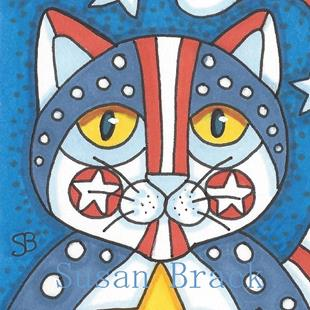 Art: PURRS FOR THE RED WHITE AND BLUE by Artist Susan Brack