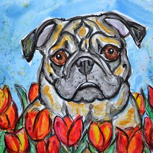 Art: Fawn Pug in Tulips by Artist Melinda Dalke