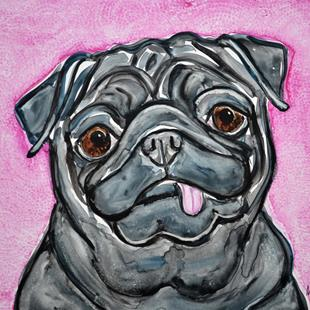 Art: Impression of a Black Pug by Artist Melinda Dalke