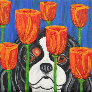 Art: Cavalier and Modern Tulips by Artist Melinda Dalke