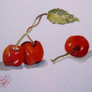 Art: Three Cherries-sold by Artist Delilah Smith