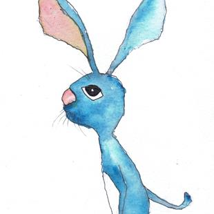 Art: BLUE HARE h3037 by Artist Dawn Barker