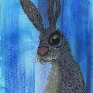 Art: HARE IN BLUE h3039 by Artist Dawn Barker