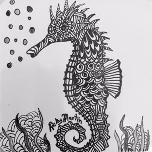 Art: Seahorse - Zentangle Inspired by Artist Ulrike 'Ricky' Martin