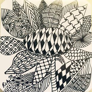 Art: Sun Flower - Zentangle Inspired by Artist Ulrike 'Ricky' Martin