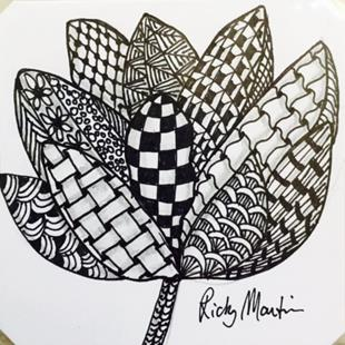 Art: Flower - Zentangle Inspired by Artist Ulrike 'Ricky' Martin