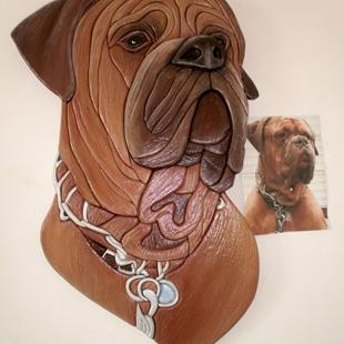 Art: MAXIMUS..Mastiff Original Painted Intarsia Art by Artist Gina Stern