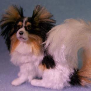 Art: Silk Furred Papillon Dog by Artist Camille Meeker Turner