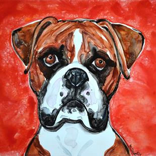Art: Study of a Boxer in Watercolors by Artist Melinda Dalke