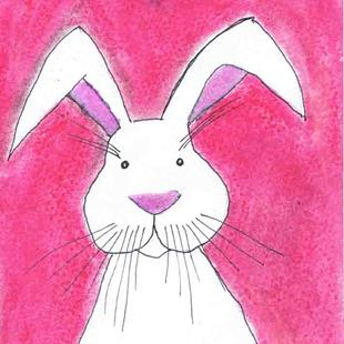 Art: HARE IN PINK h3046 by Artist Dawn Barker
