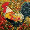 Art: Encaustic Rooster  - Sold by Ulrike 'Ricky' Martin