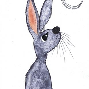 Art: MOONGAZING HARE h3070 by Artist Dawn Barker