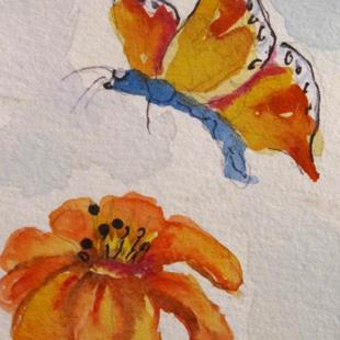 Art: Orange Flower and Butterfly by Artist Delilah Smith