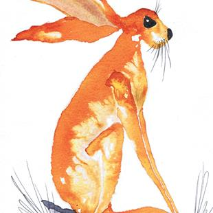 Art: THINKING HARE h3072 by Artist Dawn Barker
