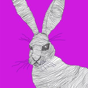 Art: HARE IN PINK h3078 by Artist Dawn Barker