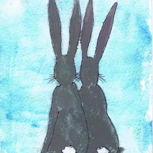 Art: TWO HARES h3080 by Artist Dawn Barker