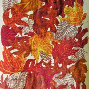 Art: Copper Leaves by Artist Jackie K. Hixon