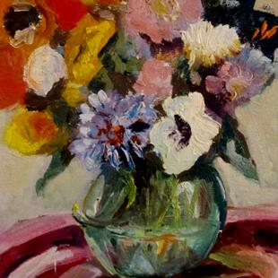 Art: Vase and Fall Flowers-sold by Artist Delilah Smith